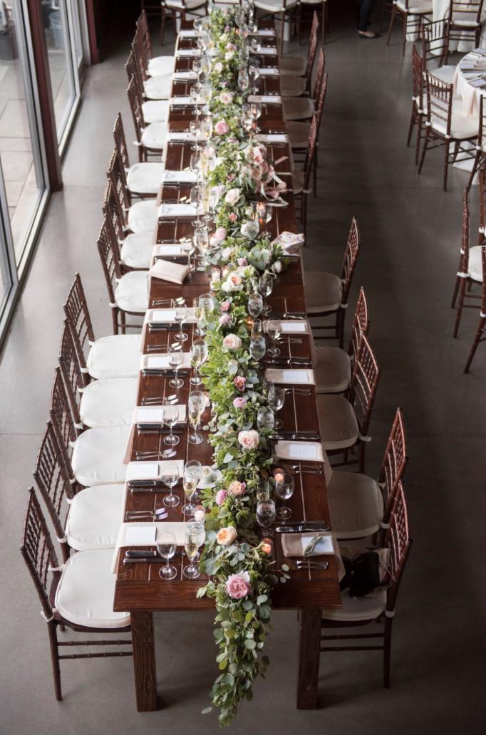 Saltwater Farm Vineyard wedding farm table garland centerpiece blush white roses.png
