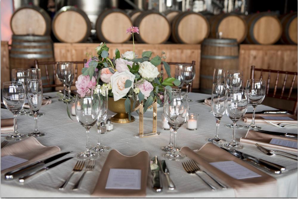 Saltwater Farm Vineyard wedding reception compote centerpiece garden roses scabiosa eucalyptus gold blush white.png
