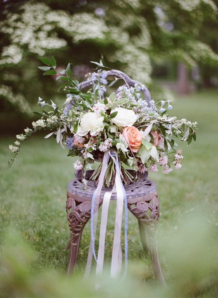 Wedding bridal bouquet blue blush white peonies roses spirea.jpg