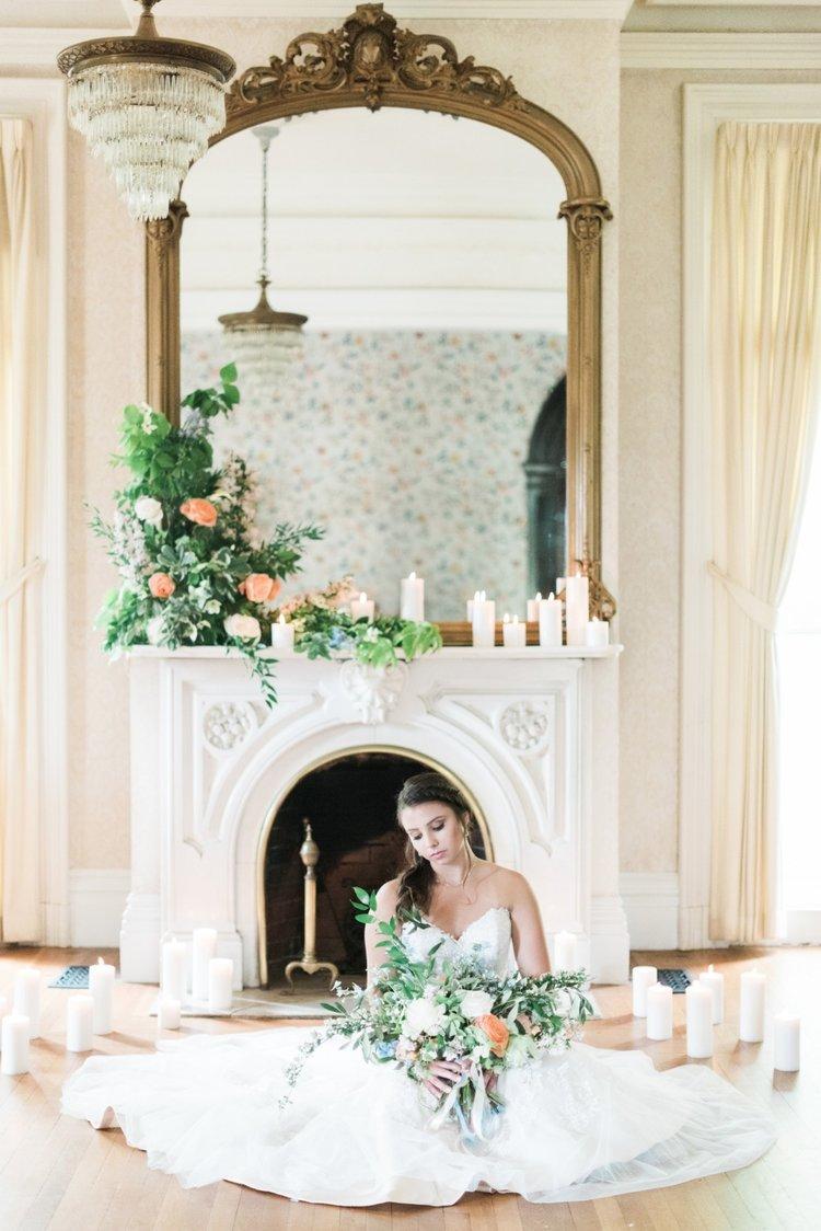 wedding mantle flowers peach white greens candles bride bridal bouquet.jpg