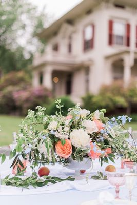 wedding outdoor centerpiece coral white blue peonies roses blue.jpg