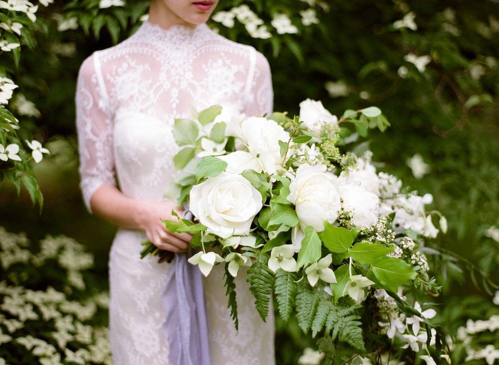 wedding bride bridal bouquet whites greens roses peonies ferns.jpg
