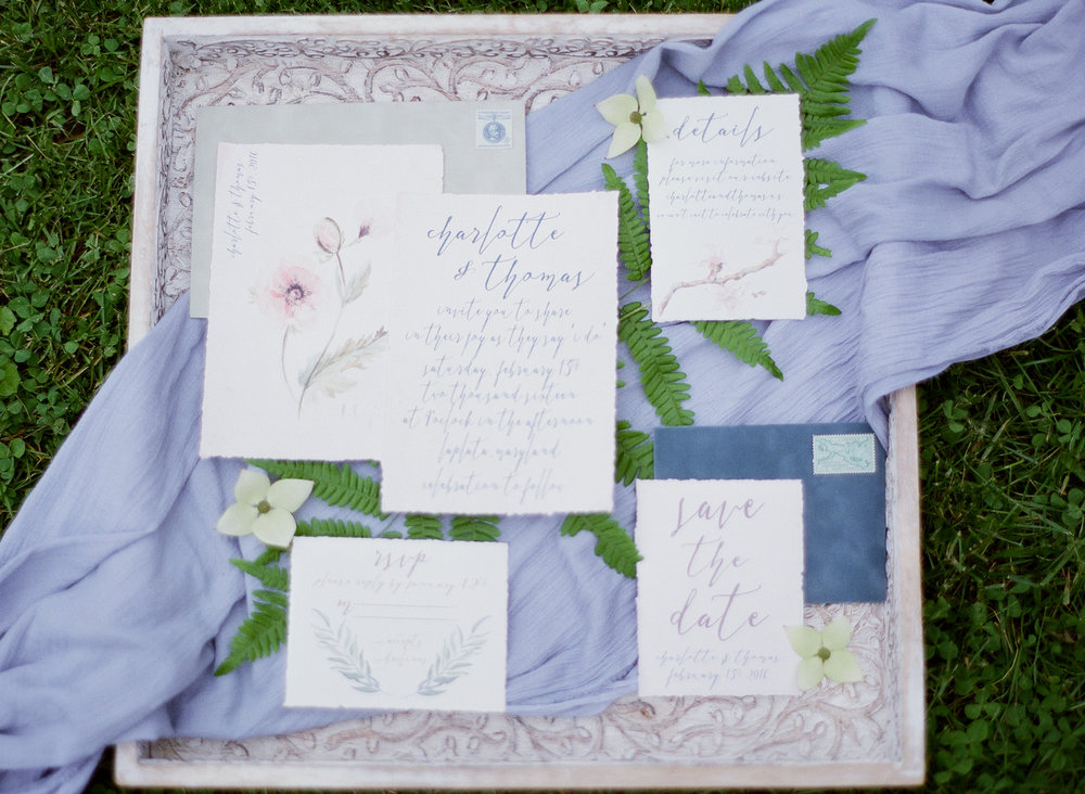 wedding invitation flat lay ferns.jpg