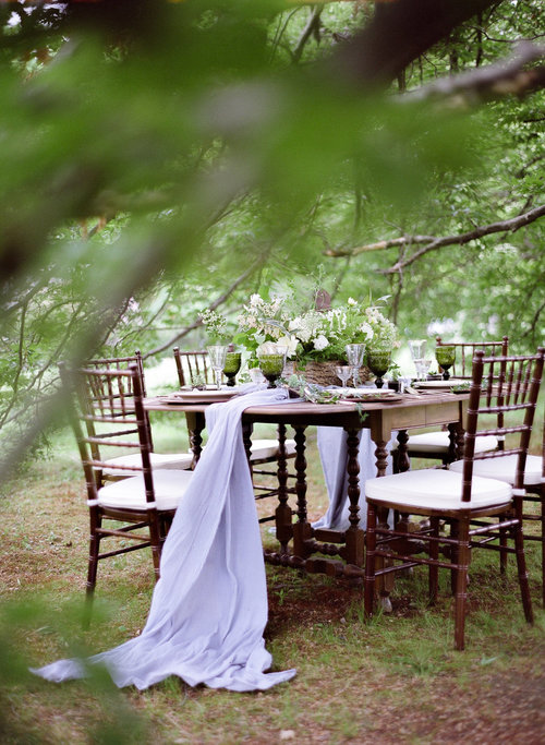wedding outdoor table setting centerpiece table runner white green.jpg
