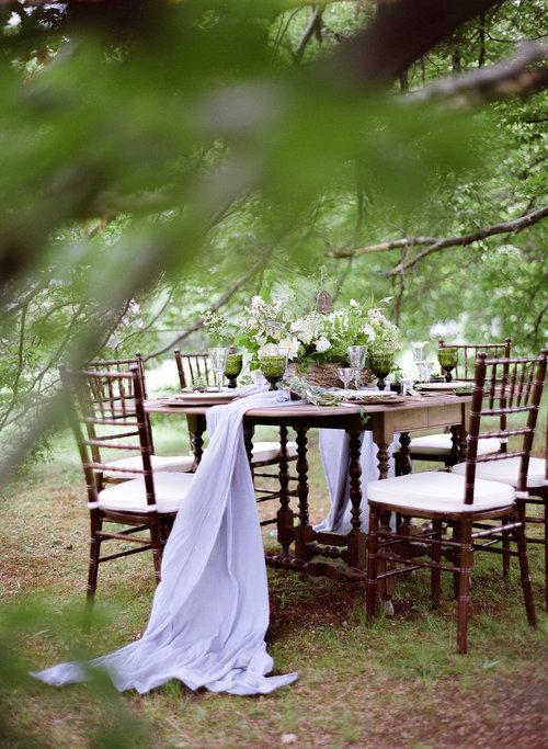 wedding outdoor table setting centerpiece table runner white green.jpg