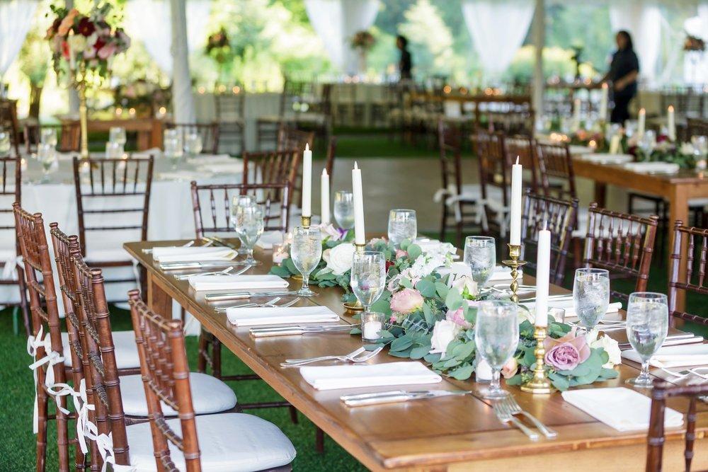 Preston Ridge Vineyard wedding reception garland centerpiece eucalyptus taper candles.jpg