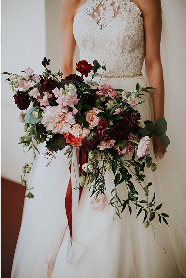 Wadsworth Mansion wedding bride bridal bouquet maroon pink blush dahlias roses zinnia.jpg