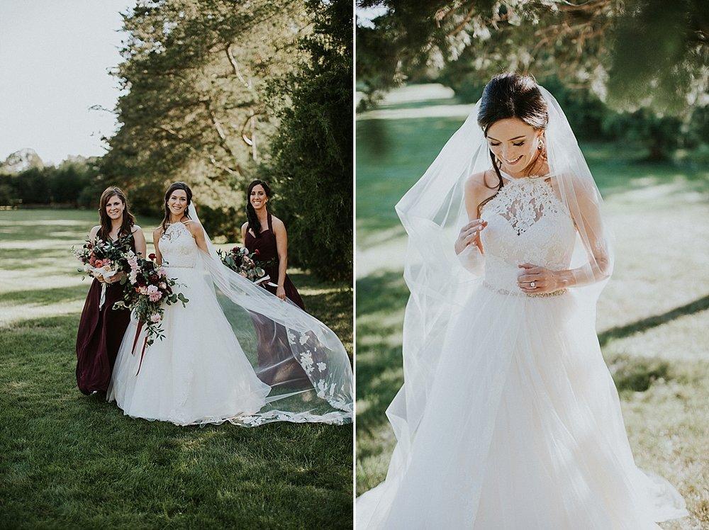 Wadsworth Mansion wedding bride bridesmaids bouquet maroon blush.jpg