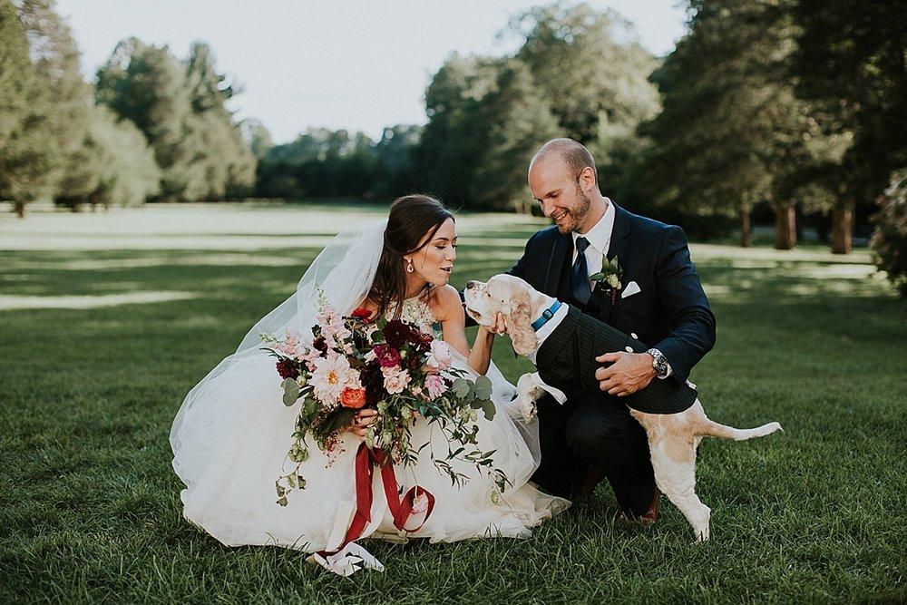 Wadsworth Mansion wedding bride groom bridal bouquet dahlia blush maroon foxglove boutonniere.jpg