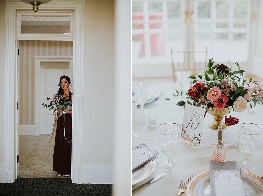 Wadsworth Mansion wedding bridesmaid bouquet compote cemterpiece peach blush maroonjpg.jpg