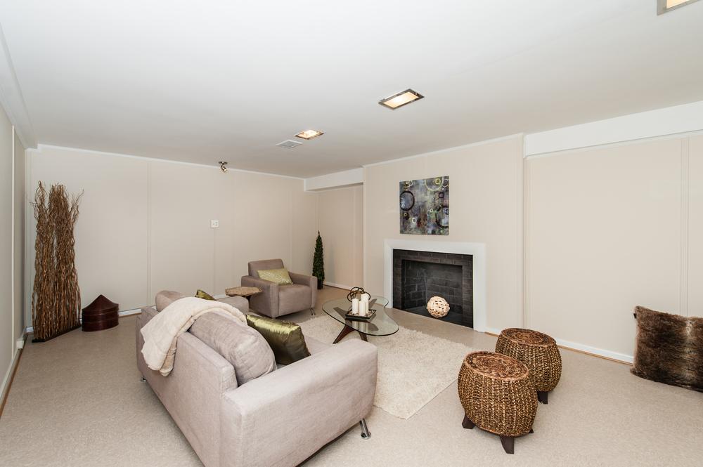 Lower Level with Wood-Burning Fireplace