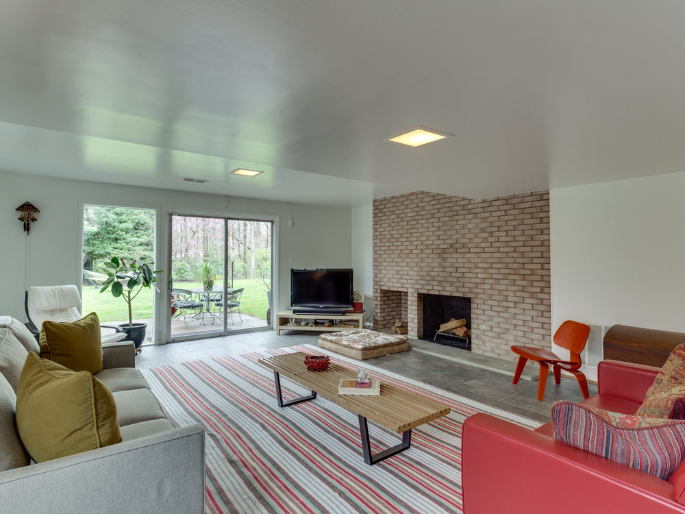 Recreation Room with Wood-Burning Fireplace