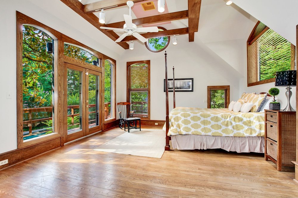 Master Bedroom overlooks Pool and Gardens