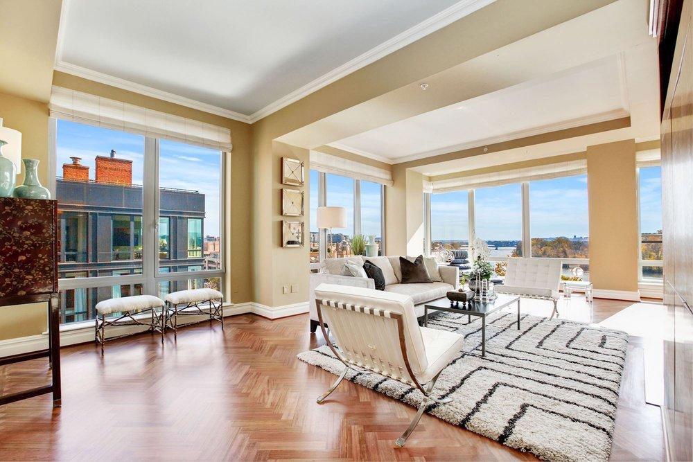 Formal Living Room with Panoramic Potomac River Views
