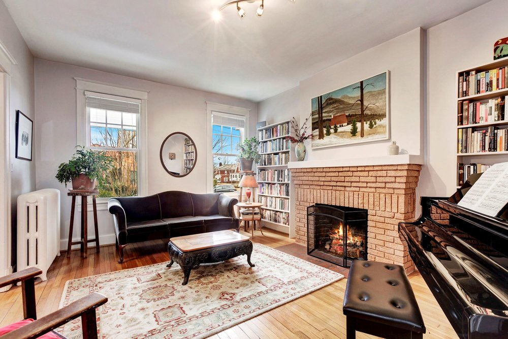 Handsome Living Room with Gas Fireplace