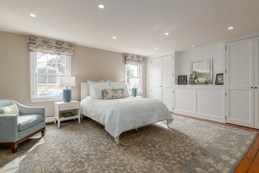 Tranquil and Spacious Master Bedroom with Built-ins