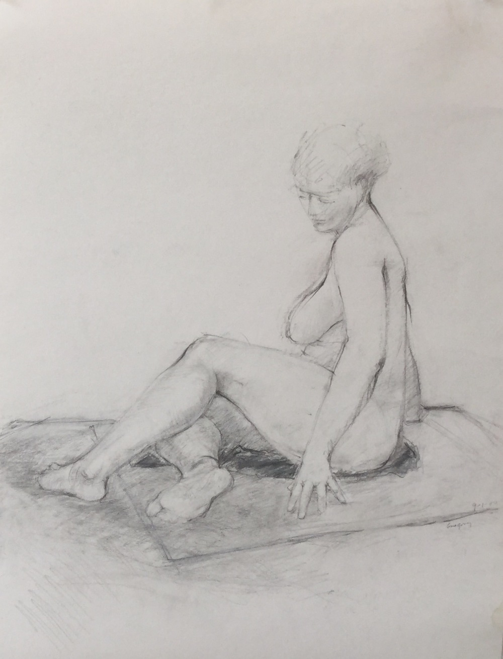 """Seated Nude II"" Charcoal and graphite on paper 16""x21"" (i.s.)/ 17.5""x23"" (p.s.)"