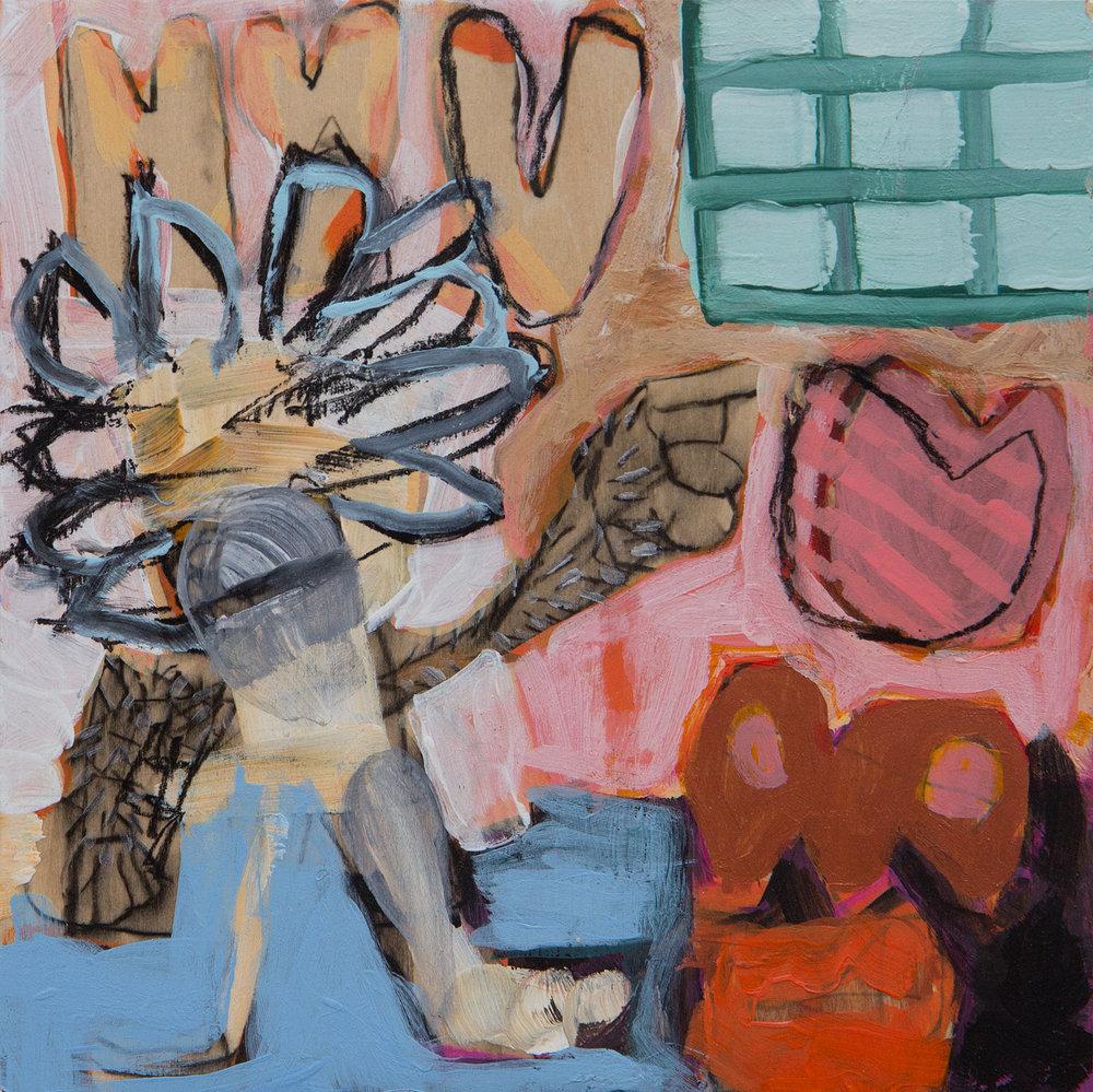 "The Gatekeeper, Ethan Boisvert,acrylic on panel, 10"" x 10"",2017"