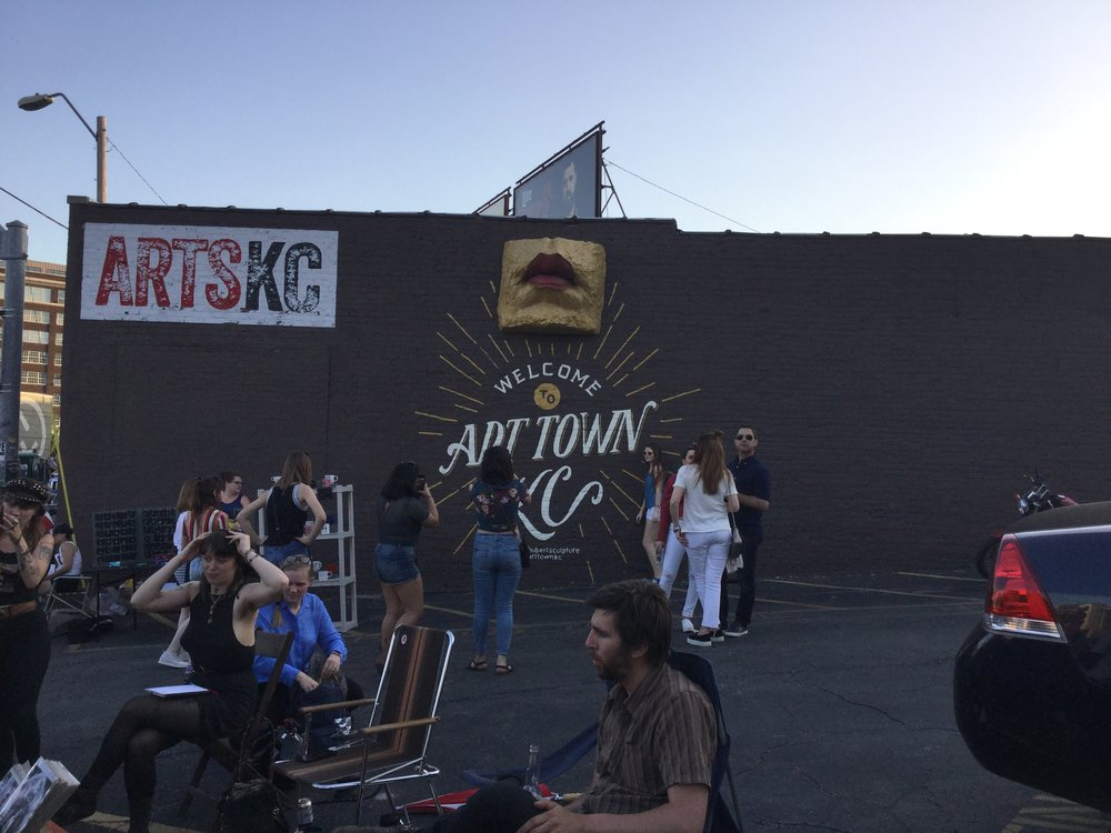 "Crowds attending ""First Fridays"" in Kansas City's Crossroads Arts District"