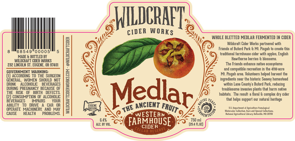 Labels for WildCraft Cider thoroughly tell the story of where, and how, the ingredients were acquired