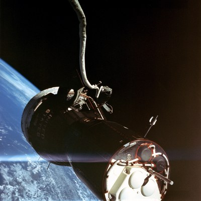 Photo taken by Eugene Cernan, during his umbilical dynamics evaluation