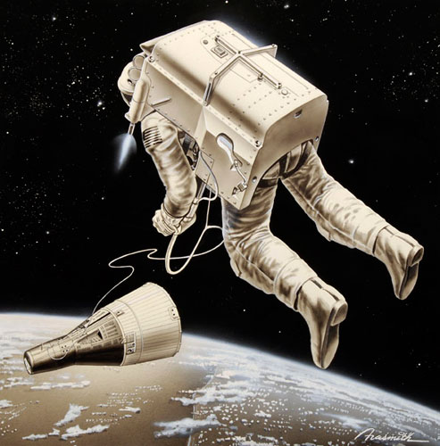 Artist's depiction of a successful flight of the AMU