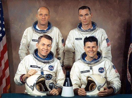Gemini 9 original prime crew (front, L-R) Elliott See, Charles Bassett;and backup crew (back, L-R) Tom Stafford, Gene Cernan