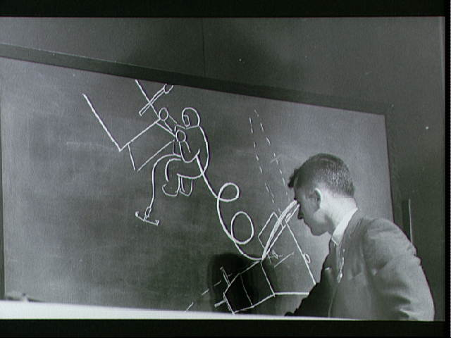 Astronaut Young draws diagram of tethered extravehicular activity accomplished during Gemini X flight