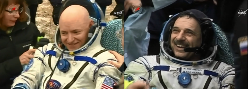 Scott Kelly (left) and Mikhail Kornienko (right). Photo Credit: NASA/Bill Ingalls