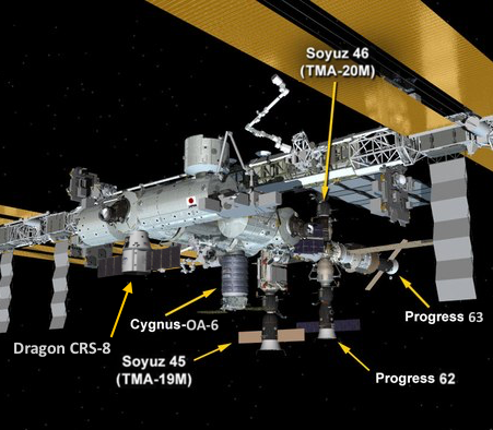 ISS configuration following the arrival of SpaceX's Dragon spacecraft April 10.