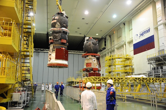 Progress 63 in the rocket integration facility. Photo credit: Roscosmos
