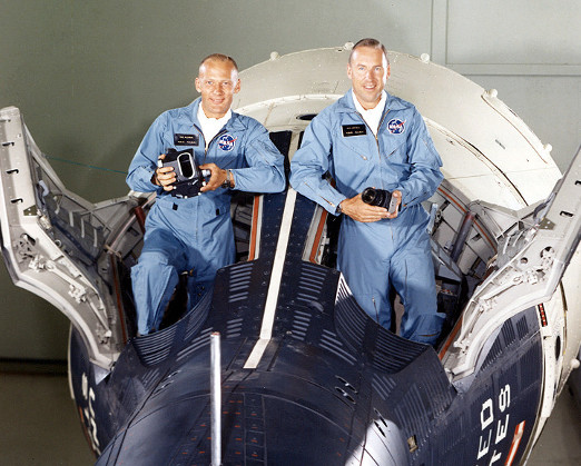 Buzz Aldrin (L) and Jim Lovell (R) sit in a Gemini capsule prior to their mission. Photo credit: NASA