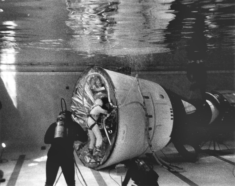Buzz Aldrin trains for his EVAs in the Neutral Buoyancy Simulator pool. Photo credit: NASA