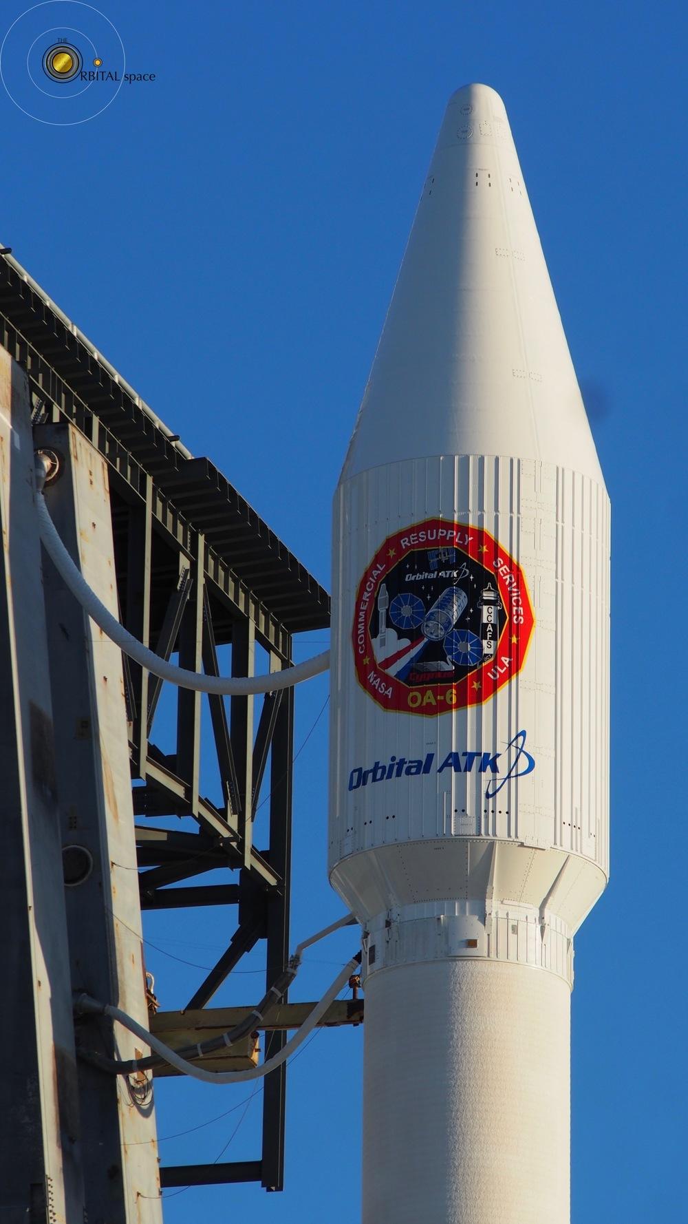Atlas-V & Cygnus OA-6 mated, on launchpad SLC-41