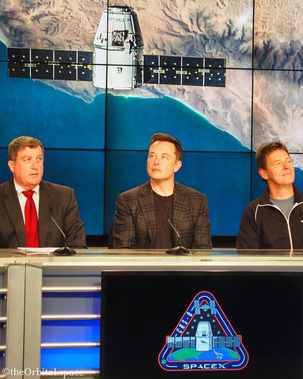 Elon Musk watches replay of Falcon 9 landing