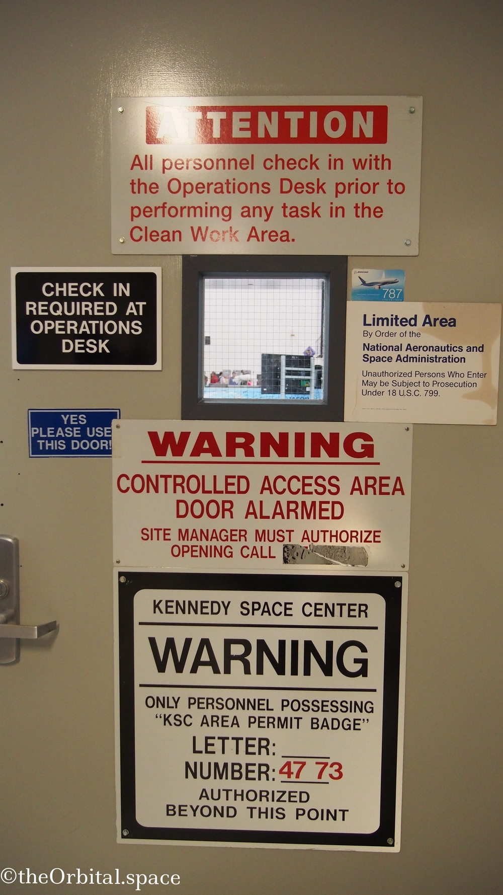 Door to the Space Station Processing Facility SSPF