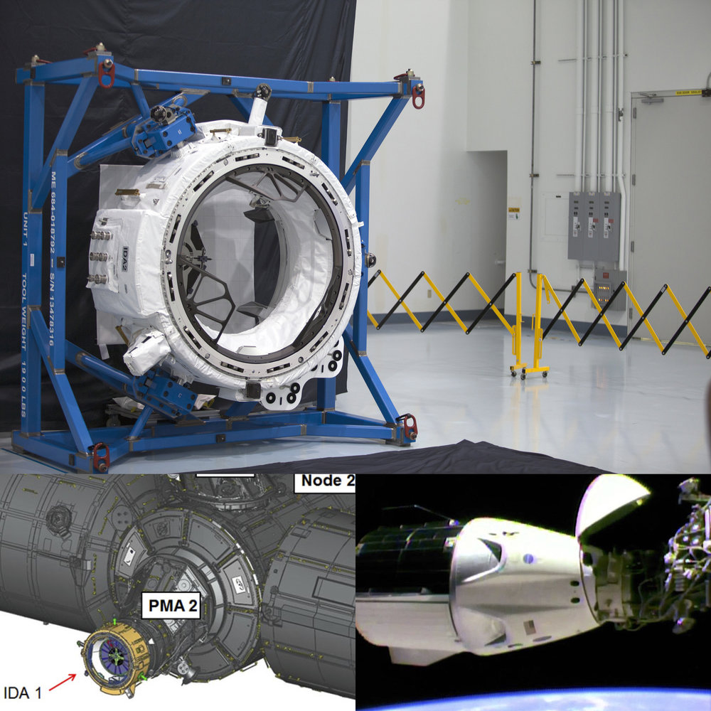 International Docking Adapter, prior to launch (above), location on the International Space Station (bottom left), and docked with Crew Dragon during  DM-1  (bottom right). Images courtesy of NASA.