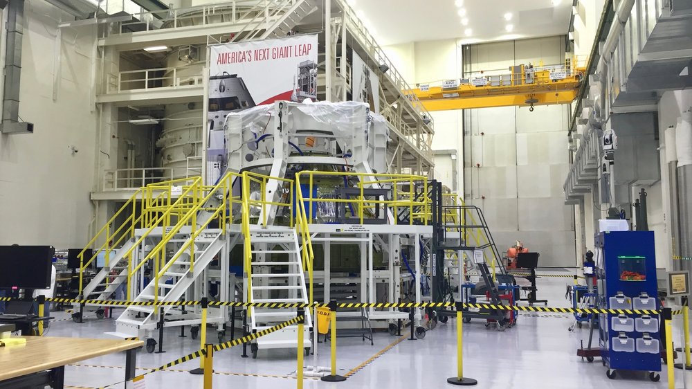 NASA's EM-1 Orion spacecraft under construction at the Neil Armstrong Operations & Checkout Building, 2016. Photo credit: Josh Dinner