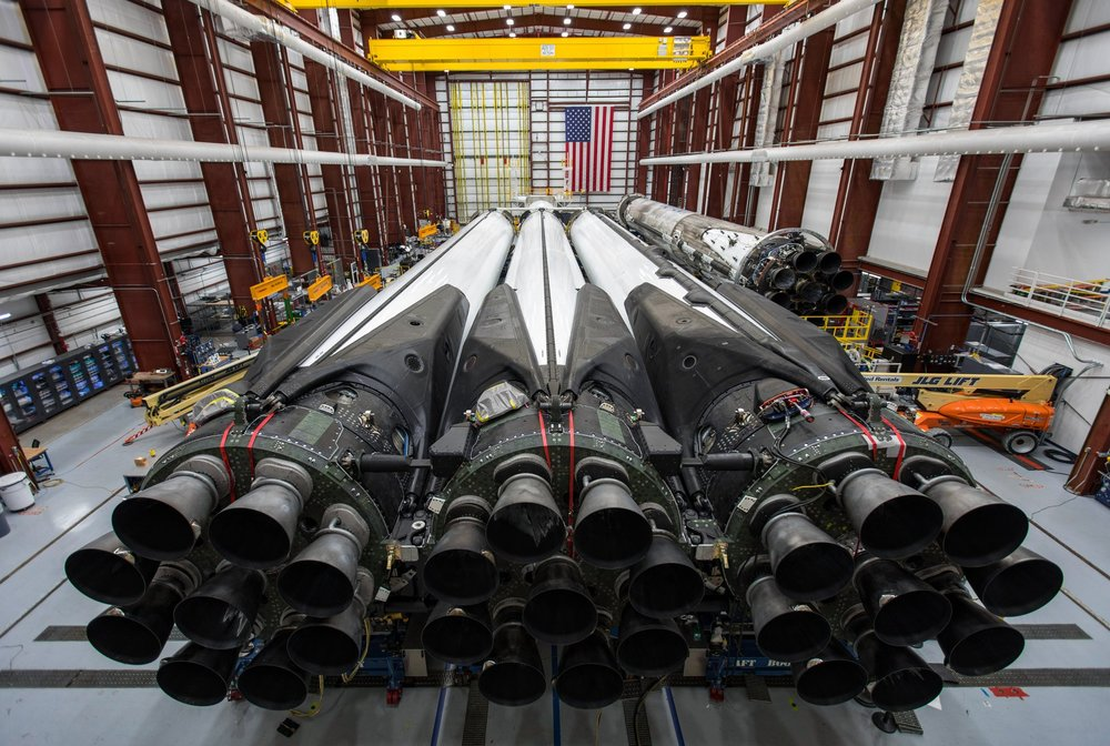 Falcon Heavy lays inside SpaceX's Horizontal Integration Facility. Image credit:  SpaceX