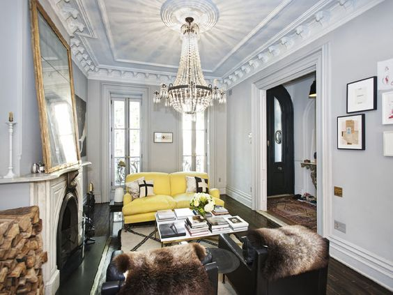 Great pop of color with the yellow sofa. The beautiful beni ourain also adds some nice warmth and texture to the space.