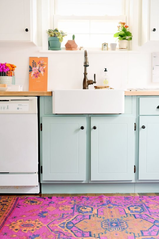 In love with these powder-blue painted cabinets via Apartment Therapy