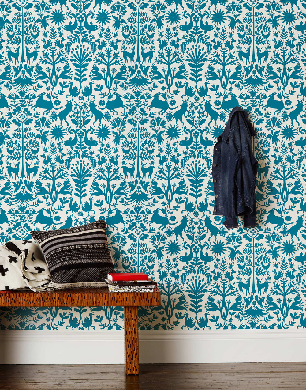 Teal Otomi Wallpaper via  Hygge & West