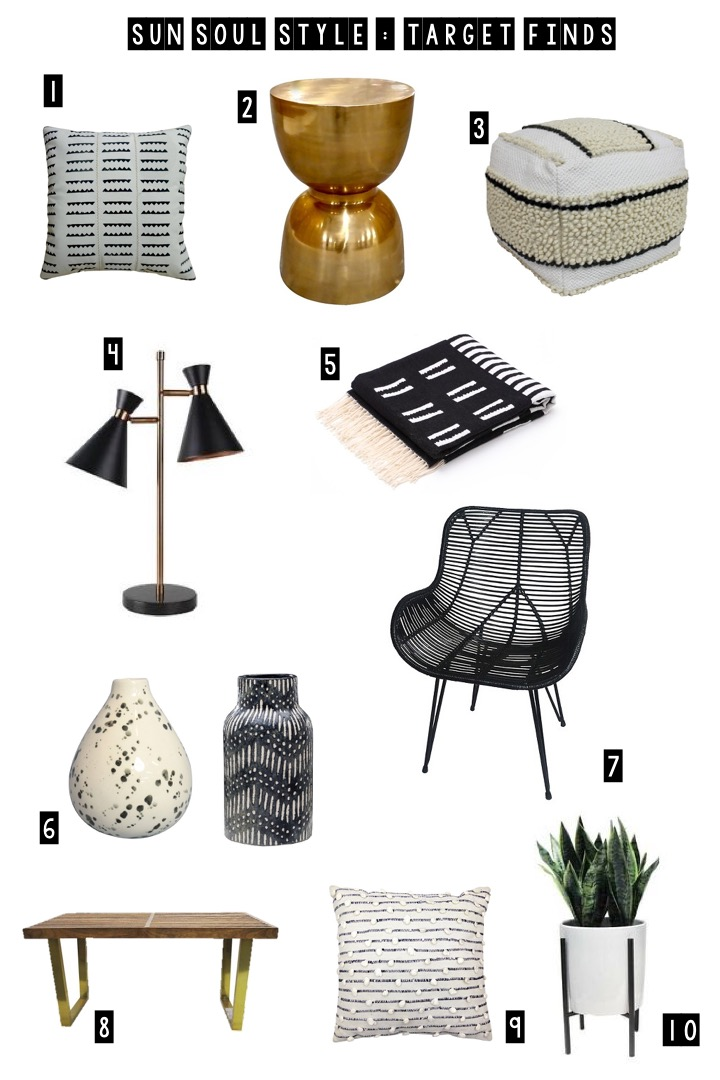 1.  Throw Pillow in White/Gold  // 2.  Hourglass Accent Table  // 3.  Black and White Pouf  // 4.  Table Lamp with Dual Heads  // 5.  Threshold Throw Blanket in Black  // 6.  Speckled Vase  &  Textured Ceramic Vase in Black  // 7.  Wicker Accent Chair in Black  //  8.  Wood Slat Bench with Gold Legs  // 9.  Woven Throw Pillow  //  10.  Artificial Plant in Large Stand