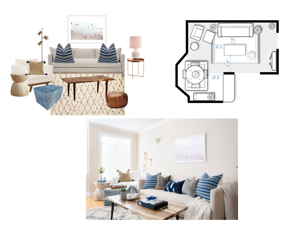 Clients will receive design concept to scale floor plan with set-up instructions and shopping list with links so purchasing can all be done online.