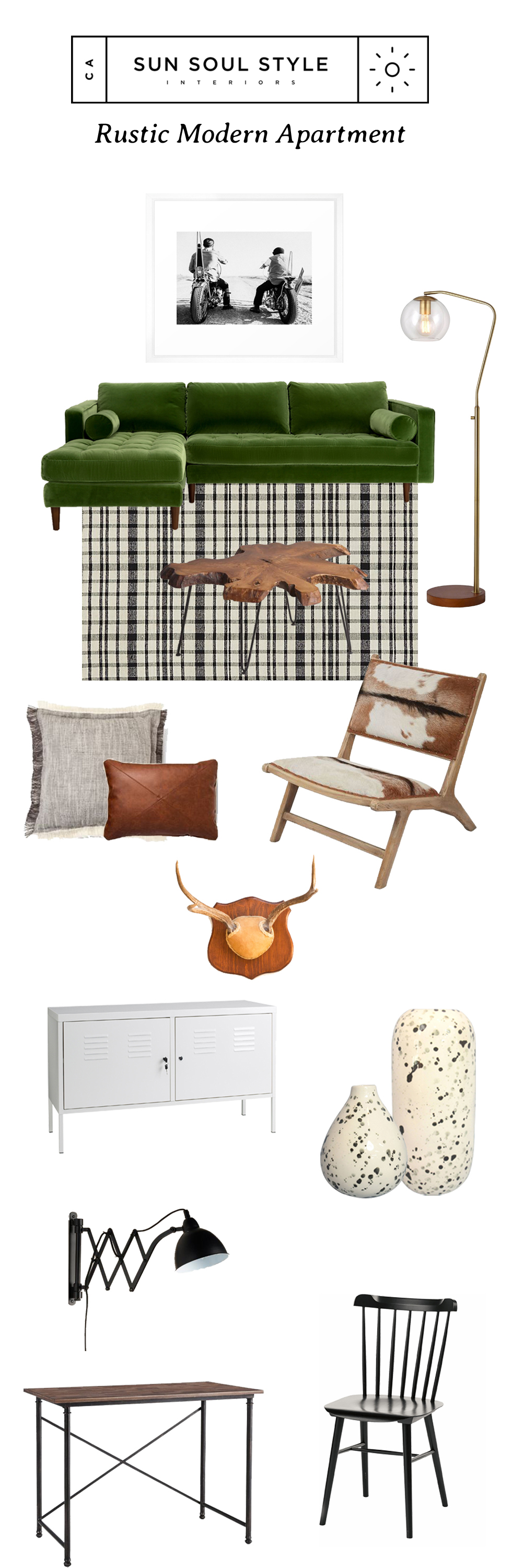 "From Top: ""Farm Boys"" art print  via Society6   // Sven Velvet Sectional  via Article  // Menlo Floor Lamp  via Target   // Black and White Checkered Rug  via CB2   // Wood Slice Coffee Table  via Cost Plus World Market   // Palomino Hide Chair  via Cost Plus World Market  // Grey Fringe Floor Pillow  via Target  // Faux Leather Pillow  via Target  // Wall Mount Deer Antlers  via Etsy  // PS Cabinet  via IKEA   // Speckled Vase  via Target  // Speckled Bud Vase  via Target  // Black Metal Accordion Sconce  via Cost Plus World Market   // Mixed Material Desk  via Target   // Black Windsor Dining Chairs  via Wayfair"