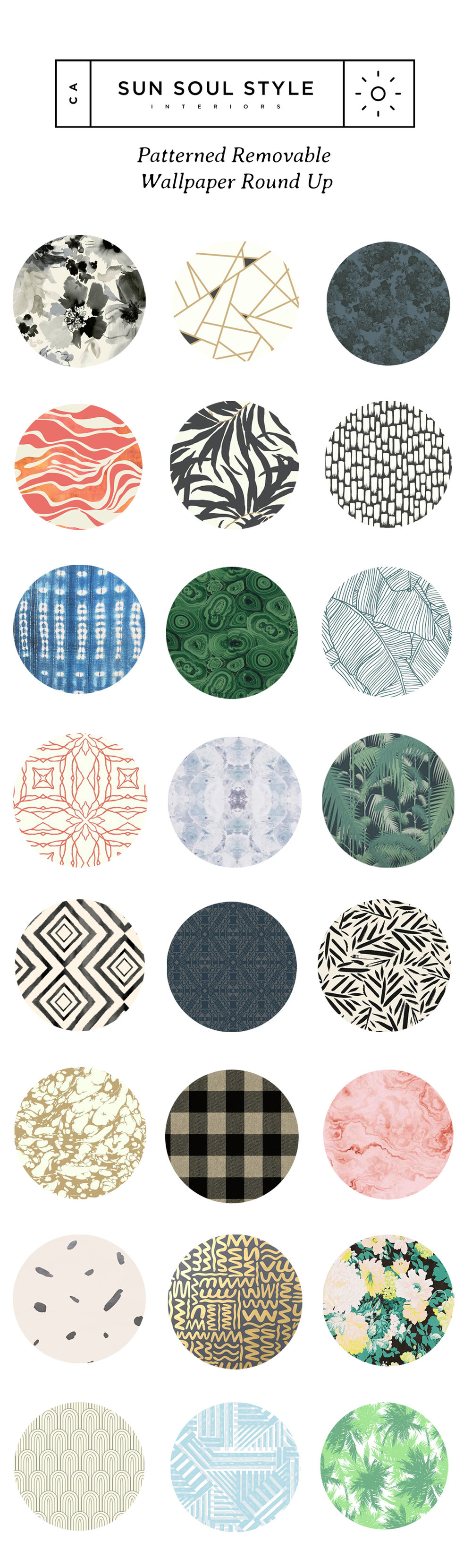 Patterned Removable Wallpaper Round Up Via Sun Soul Style