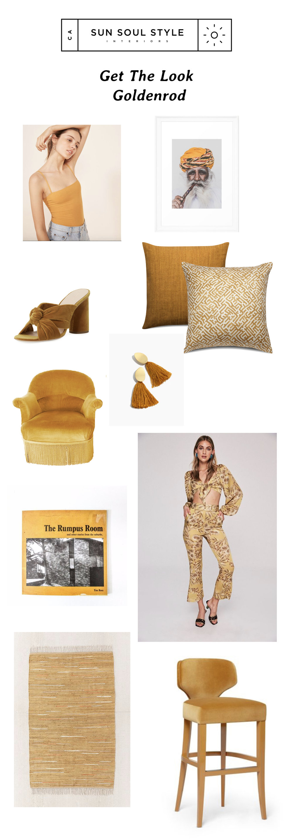 Clockwise from top:   Reformation Crystal Bodysuit  // Jodhpur Print  via Society6  // Pillows  via Zak and Fox  // tassel earrings  via Madewell  // Isla trousers and Haven crop  via Stone Cold Fox  // Velvet Stool  by Munna  // Rug  via Urban Outfitters  // The Rumpus Room  via Pop and Scott  // Antique Chairs  via 1st Dibs  //  Loeffler Randall  Coco Velvet Slide