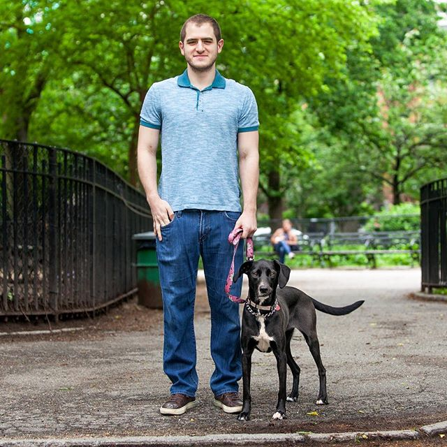 "Ben + Duchess ""Duchess quite skittish, but New York has toughened her up. I moved here from Miami and she used to not go anywhere near strangers - but now that she's here she'll hang out with them."" #humanandhound"