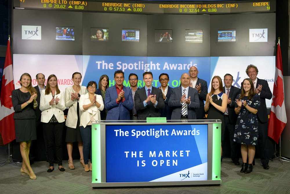 The Spotlight Awards crew opened the market at the Toronto Stock Exchange that morning