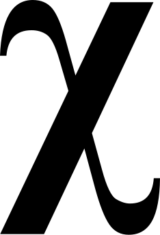 "The Greek letter ""chi"", used by early Christians."